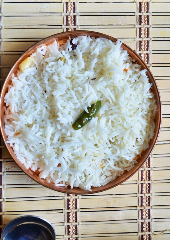 Left over rice recipes: A plate of left over rice quickly sauteed into jeera rice.