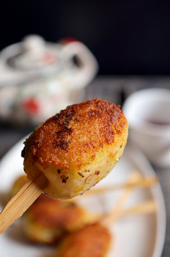 Closeup shot of crispy potato lollipop served for evening snacks
