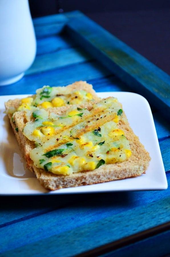 Corn potato open toast recipe 3