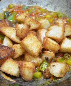 Making chilli idli recipe
