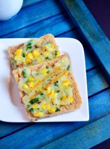 Corn potato open toast recipe 1