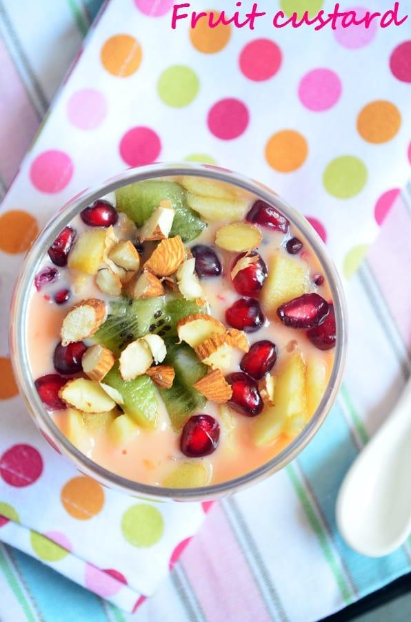 Fruit custard-overhead shot