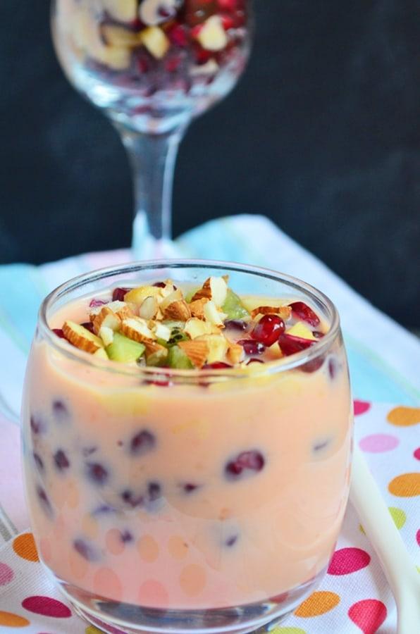 fruit custard served in a short dessert glass