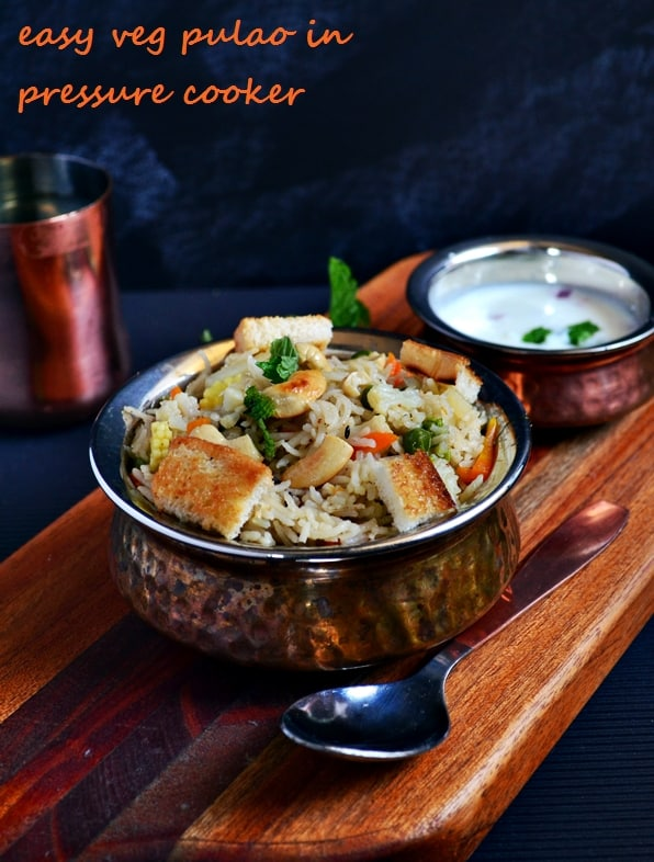 Vegetable pulao recipe in pressure cooker, how to make veg pulao in pressure cooker