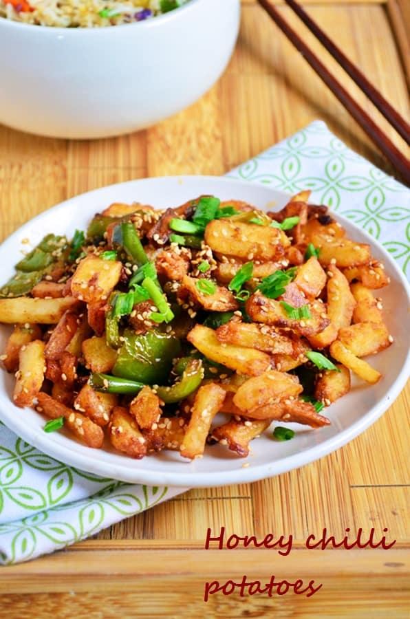 Honey chilli potatoes recipe