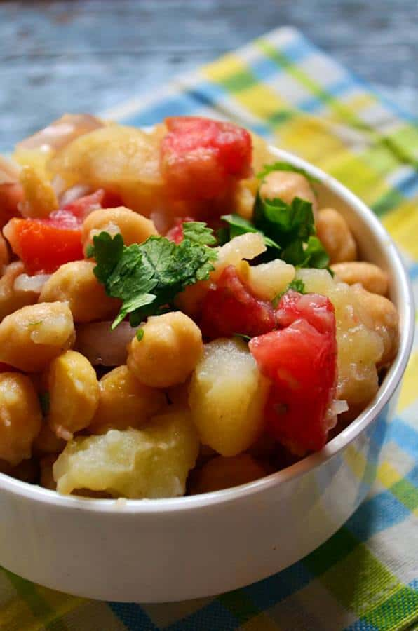 lthy summer salad with potato and chickpea