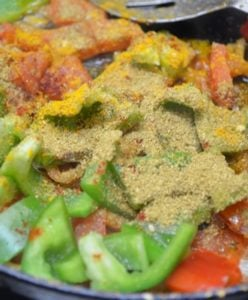 kadai paneer-add bell peppers and spice powders