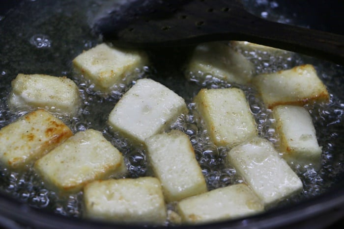 Shallow fry till color changes-paneer manchurian recipe