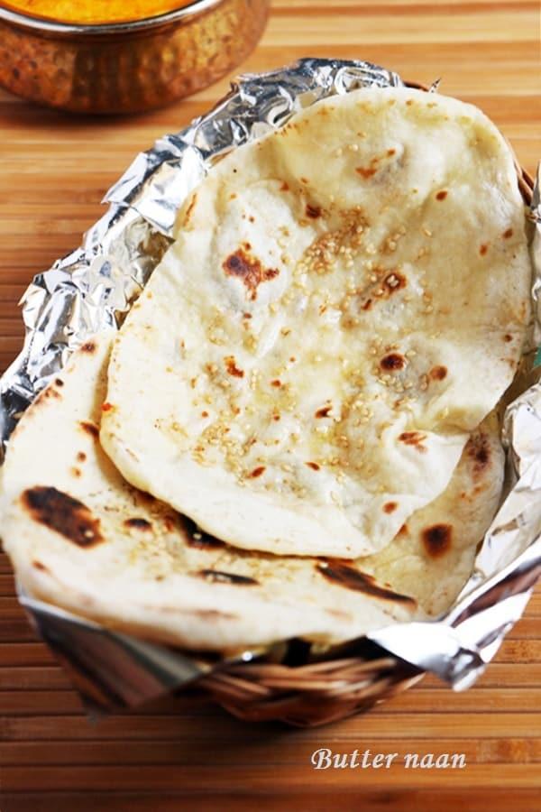 Closeup sot of butter naan
