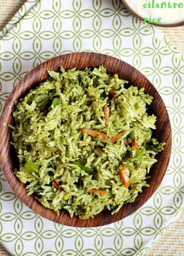 cilantro rice recipe, coriander rice recipe