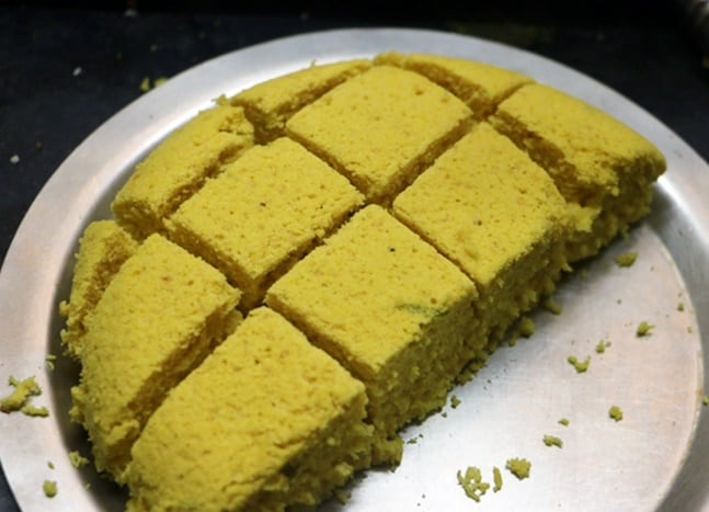 steamed khaman cut into squares