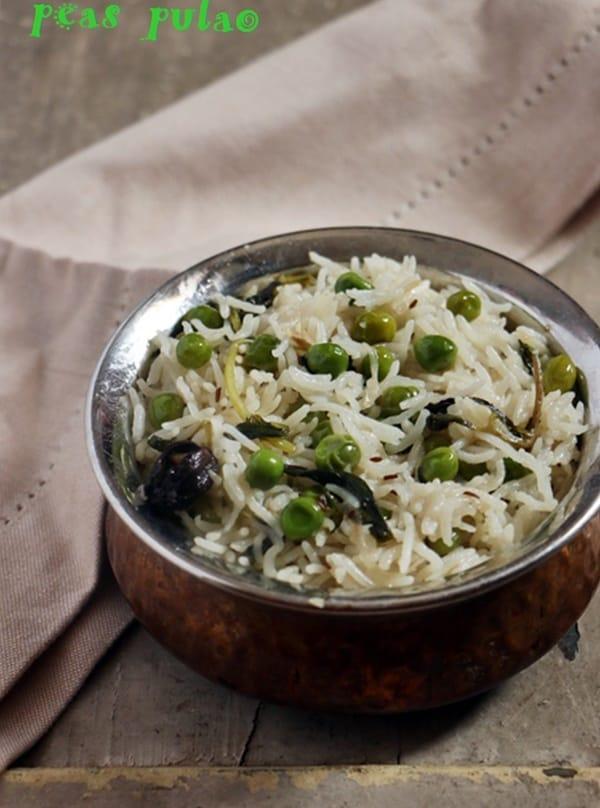 Matar pulao served for dinner