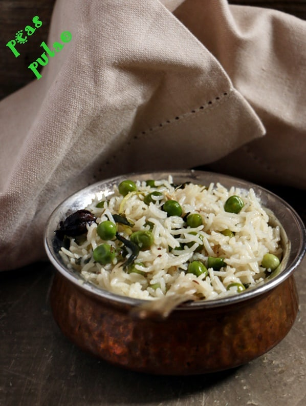 matar pulao served for lunch in a copper bowl