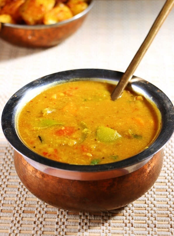 tasty vegetable sambar served with potato fry
