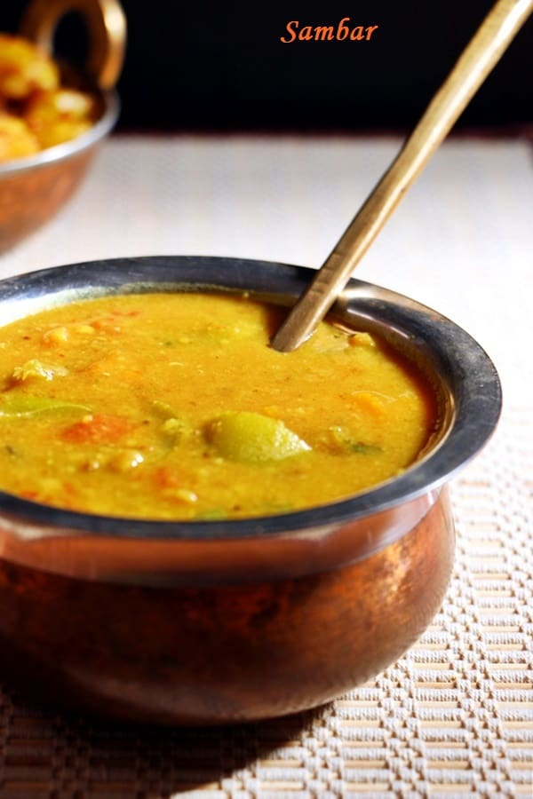 south Indian sambar with carrot and peppers served with potato curry