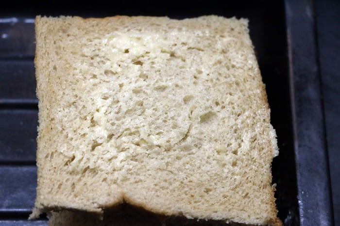 preaparing bread slices for mayonnaise sandwich recipe