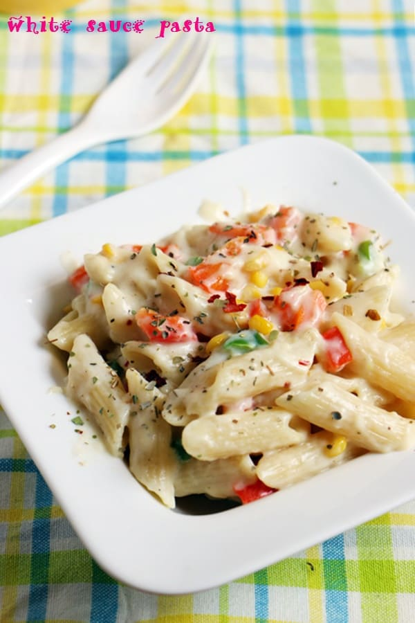 pasta in white sauce recipe with step by step photos.