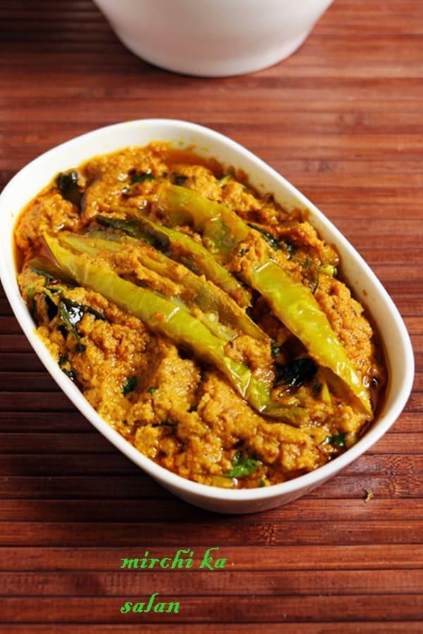 Hyderabadi mirchi ka salan served in a ceramic dish