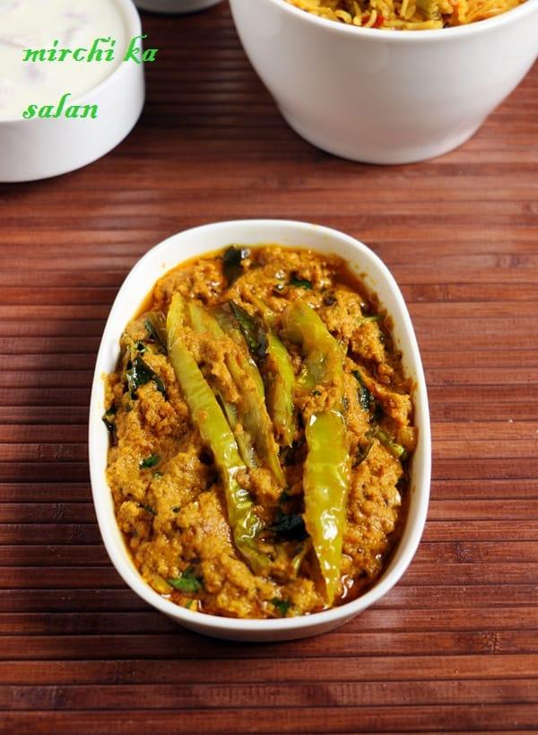easy mirchi ka salan gravy served with rice