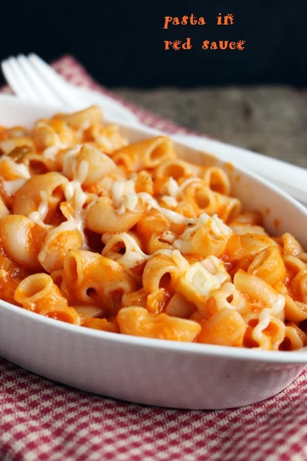 closeup shot of red sauce pasta