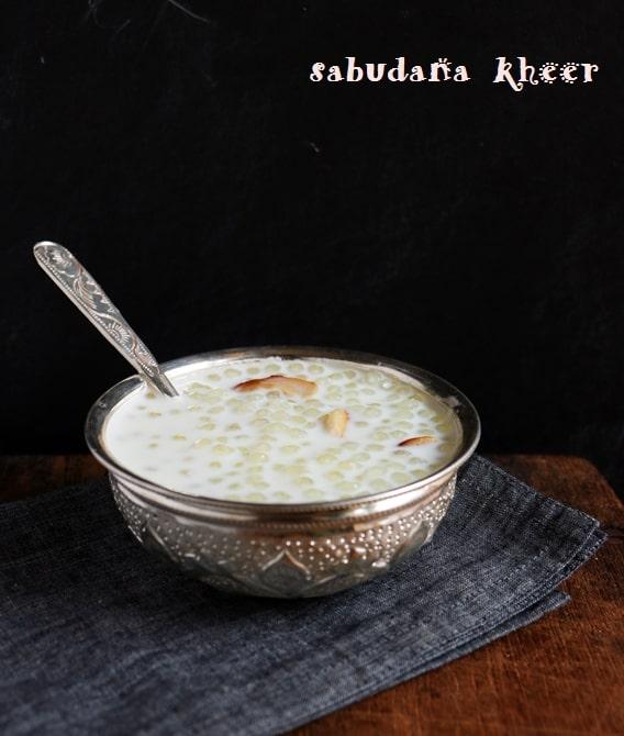 sabudana kheer served with a spoon