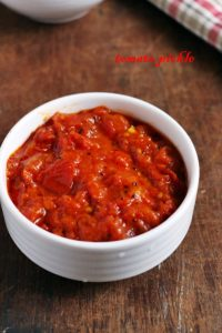 Andhra tomato pickle- closeup shot