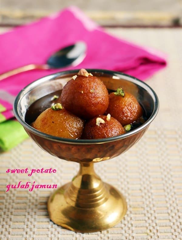 Vegan gulab jamun recipe, sweet potato gulab jamun recipe