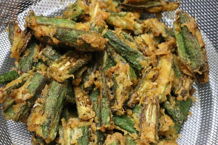 Making Kurkuri Bhindi Recipe-fried bhindi