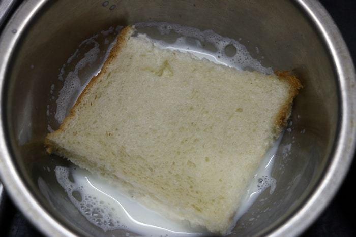 soaking bread slices for bread gulab jamun