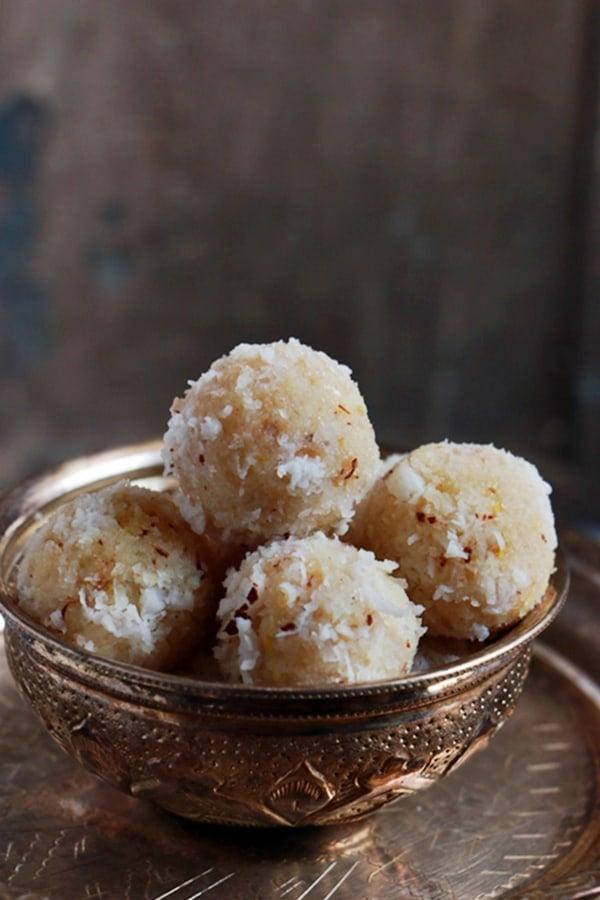 Coconut Ladoo in a silver bowl
