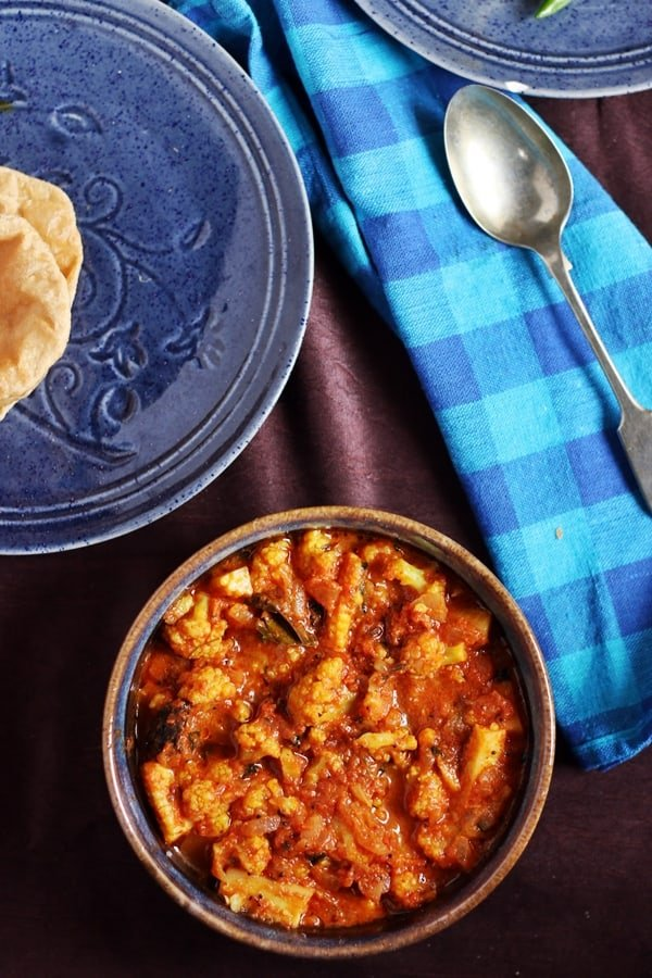cauliflower masala served with poori