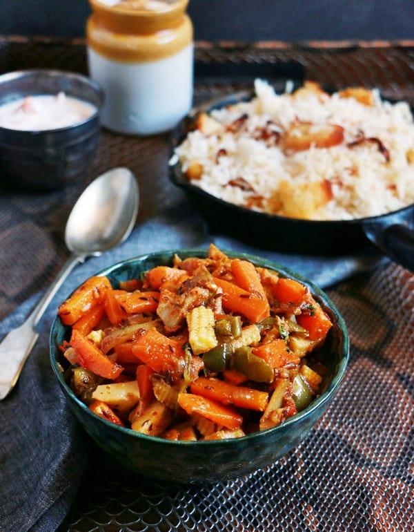 Mix veg recipe, easy mixed vegetables curry wit rice