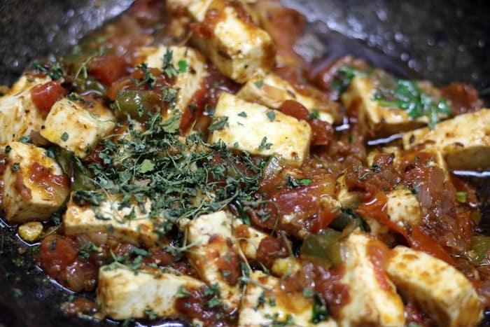 Making paneer masala recipe