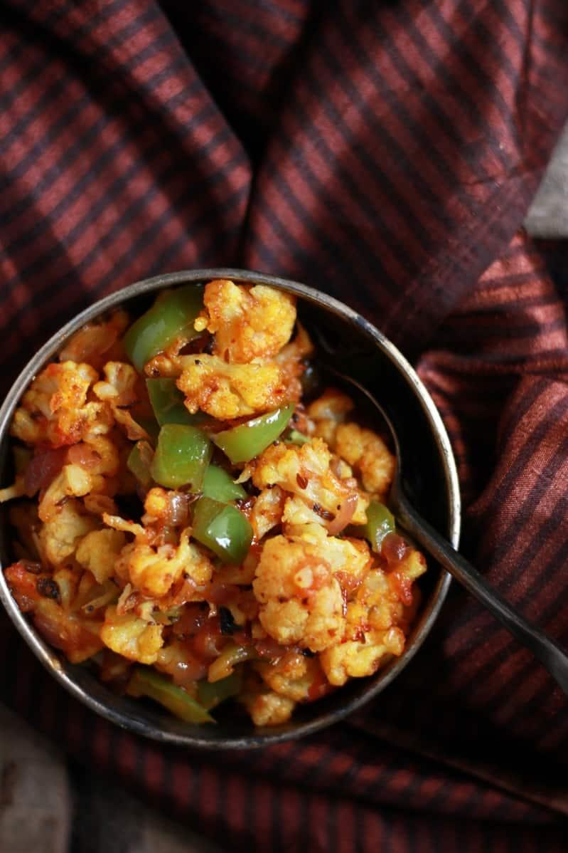 cauliflower and capsicum masala reciped