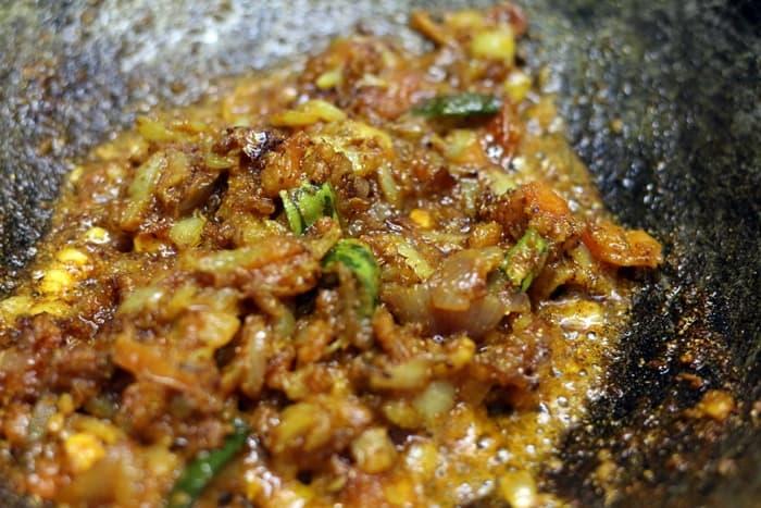 Fried onion tomato masala for making vegetable jalfrezi recipe