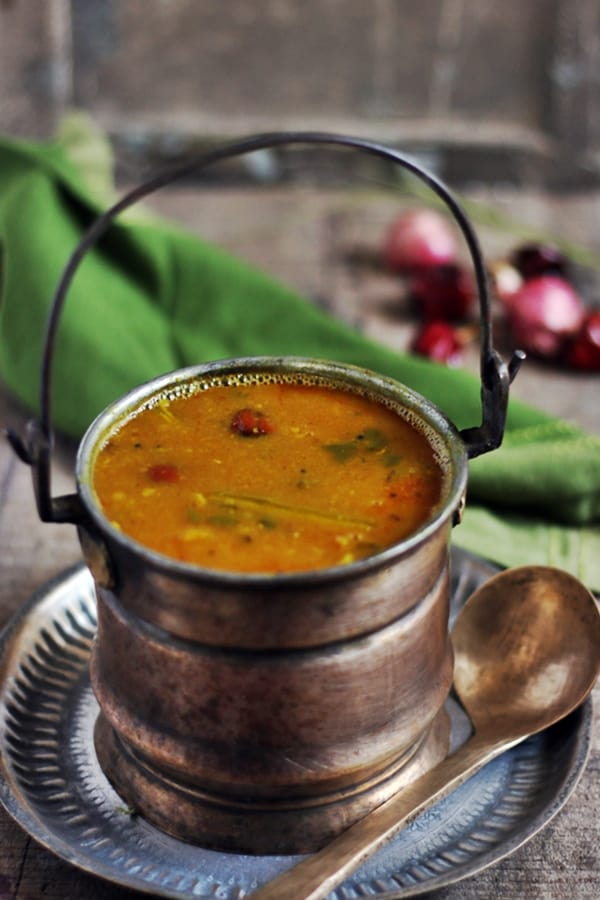 Drumstick sambar recipe or murungakkai sambar served with rice for lunch.
