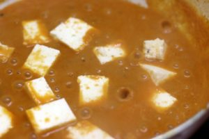 paneer cubes added to paneer lababdar gravy