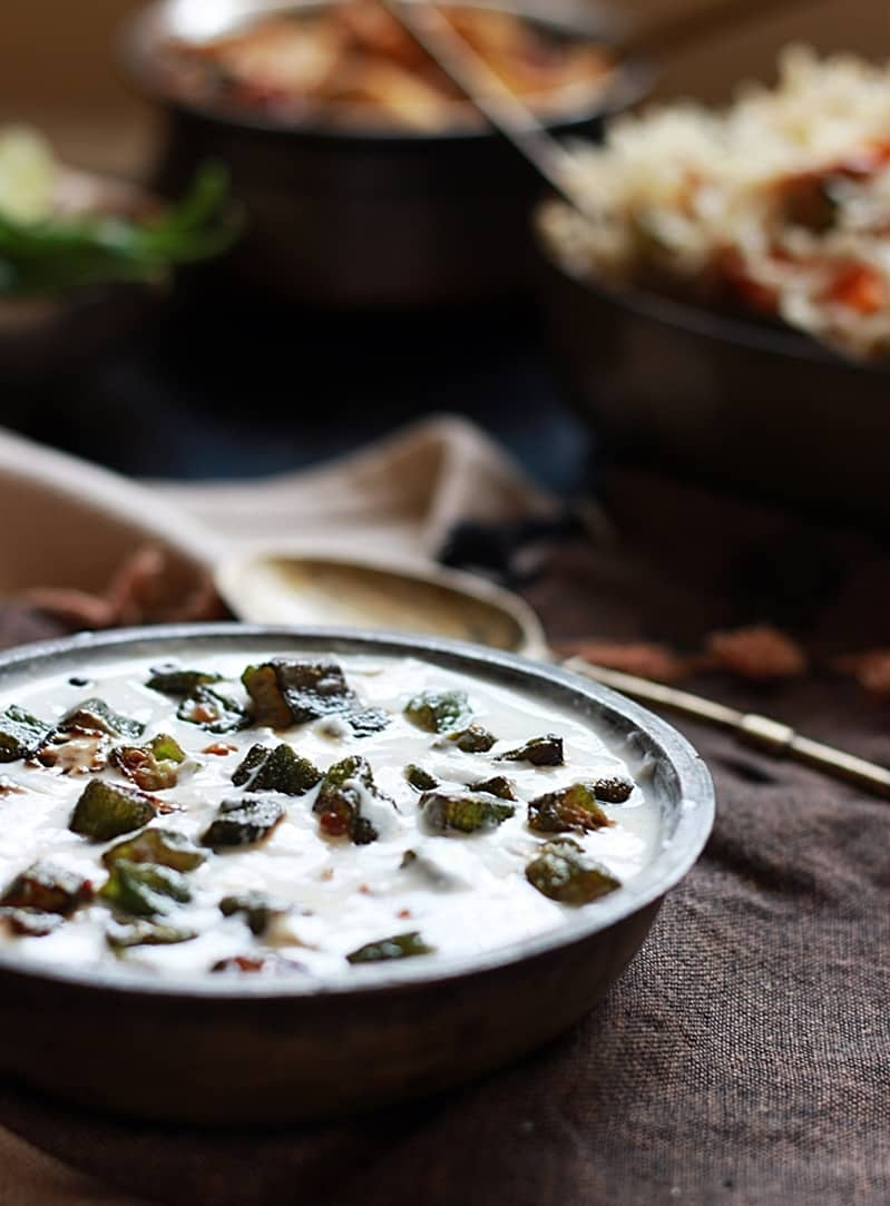 Indian okra salad with yougurt dressing recipe