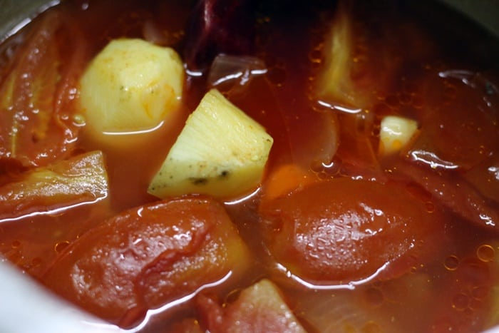 pressure cooked tomatoes, onions and potatoes for soup