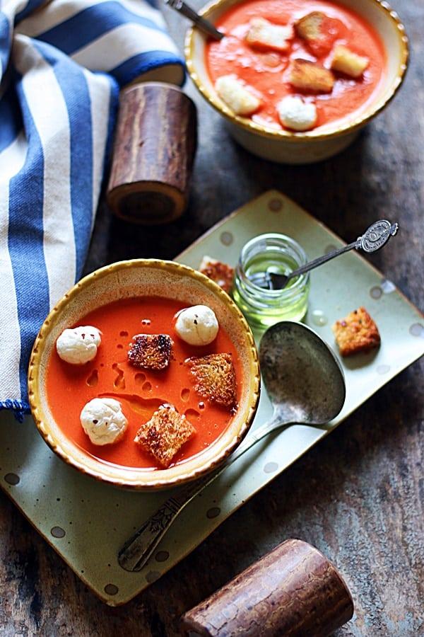 best homemade tomato soup overhead shot