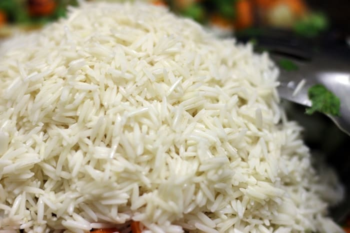sauteing drained rice