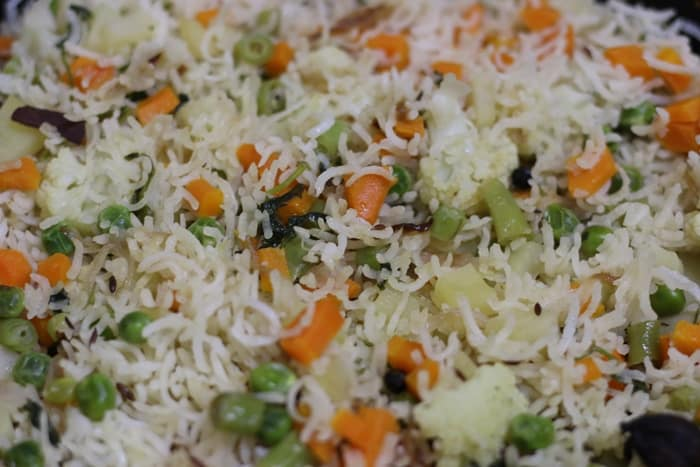 cooked vegetable pulao