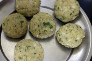 potato mixture divided and shaped for aloo tikki recipe