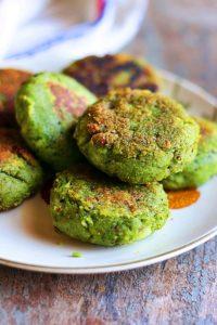 closeup shot of homemade hara bhara kabab