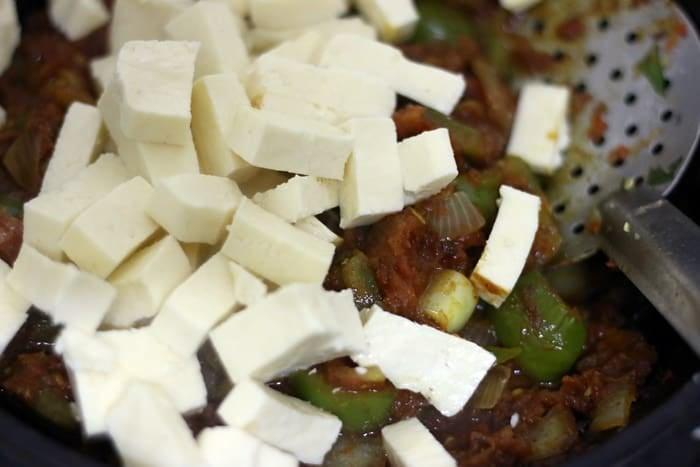 paneer added to prepared kadai gravy masala