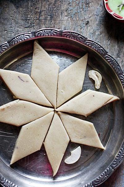 Soft melt in moutb kaju katli served in a silver plate