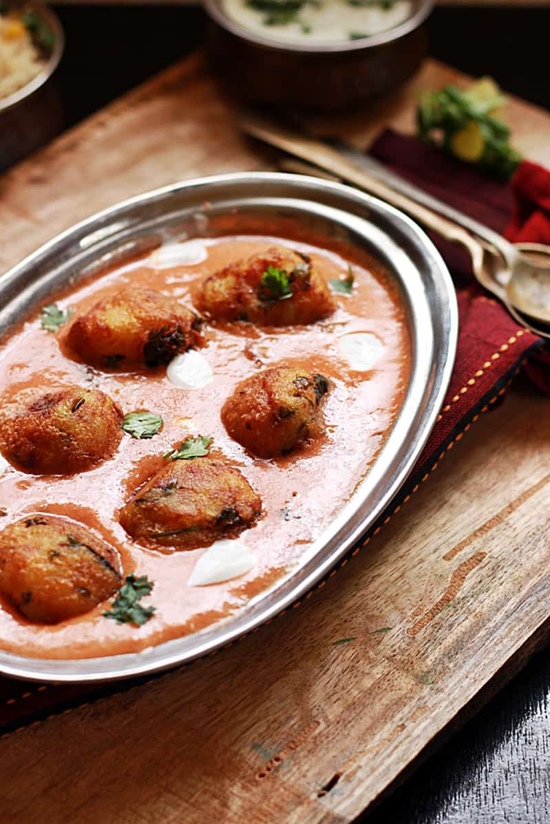 malai kofta served with rice