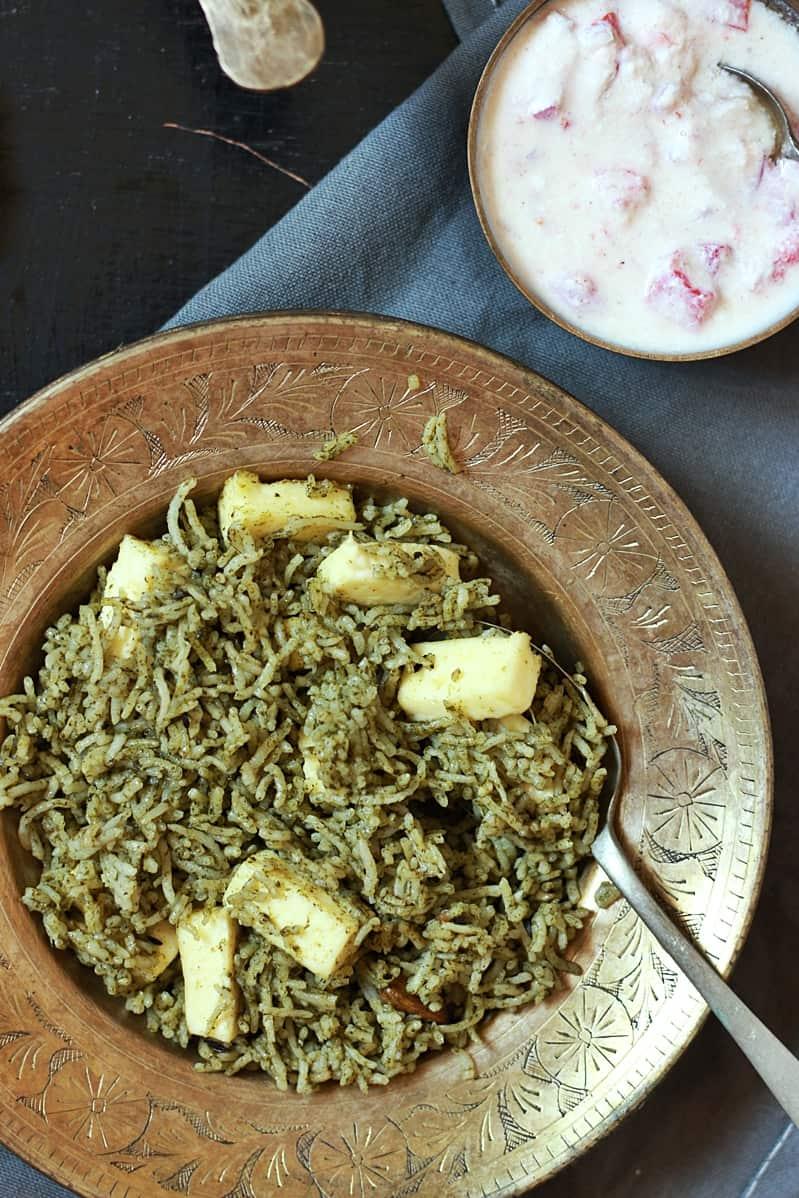 palak rice recipe