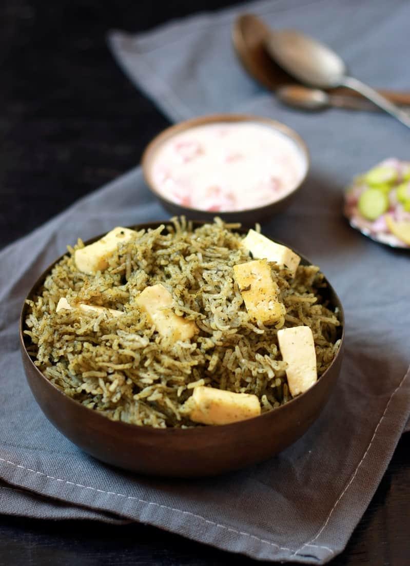 palak pulao recipe with paneer