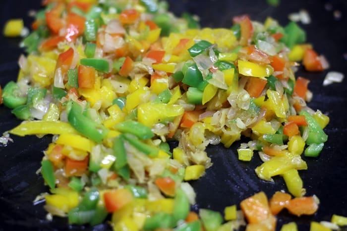 cooking capsicum for masala pav recipe